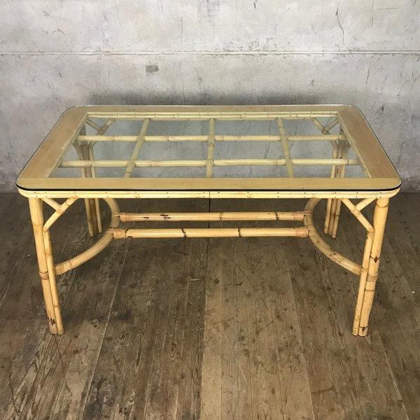 d3b57682ccda Mid Century Boho Tiki Bamboo Dining Table | Angraves | Vinterior