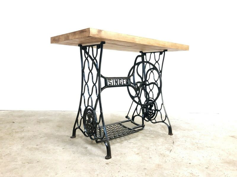 Antique Singer Sewing Machine Desk / Side / Hall Cast Table Industrial  Vintage