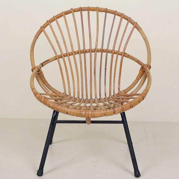 Vintage Satellite Tub Chair Circle Bamboo Cane Wicker Rattan Mcm Vinterior