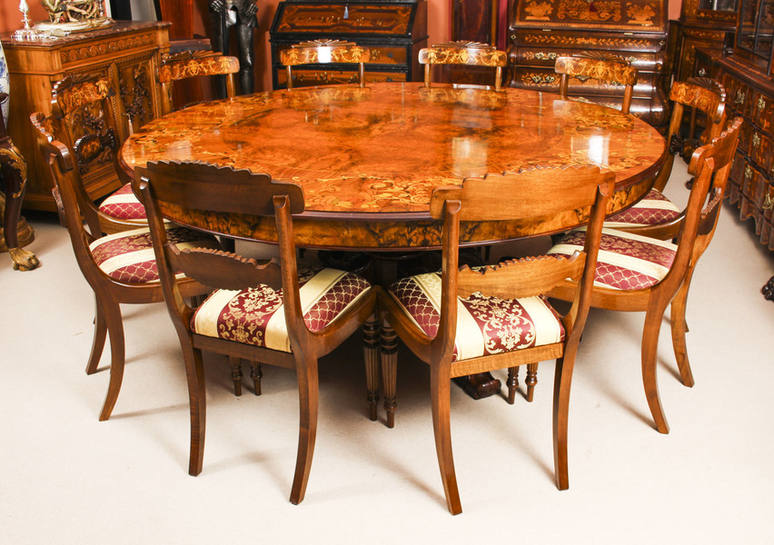 10 Round Table.Vintage 6ft 6 Inch Diameter Round Marquetry Dining Table 10 Chairs