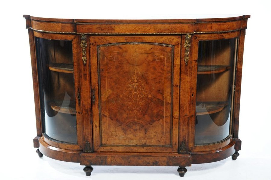 Antique Victorian Burr Walnut Inlaid Credenza C.1860 photo 1
