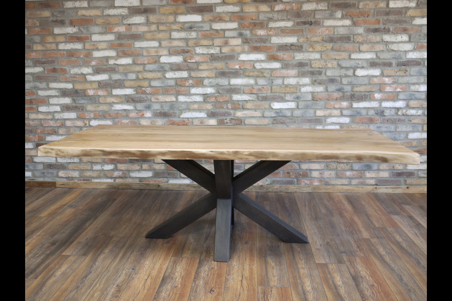 Rustic Industrial Wood And Metal Dining Table With 2 Bench Seats