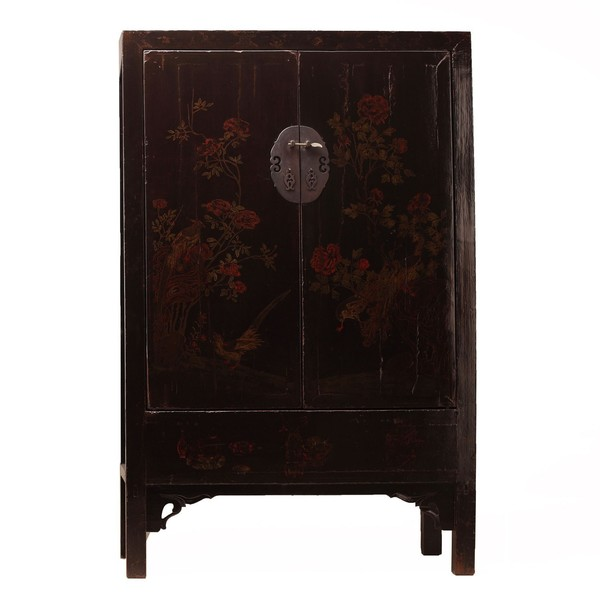 Black Decorated Lacquer Tall Cabinet C.1835