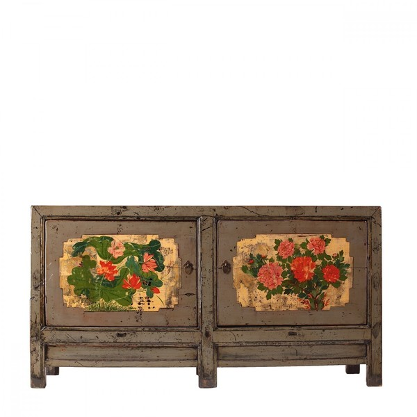 Antique Sideboard With Hand Painted Decoration C.1920