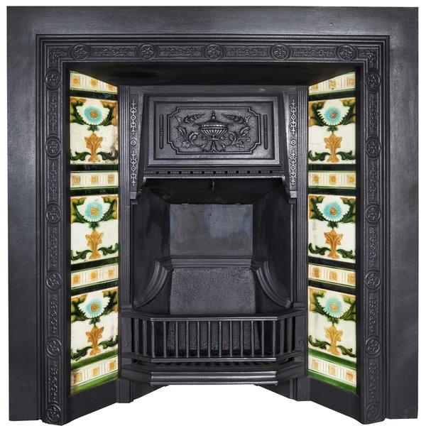 Antique Victorian Cast Iron Tiled Fireplace Insert Vinterior