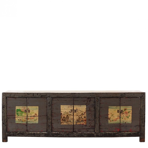Grey Decorated Antique Sideboard C.1900