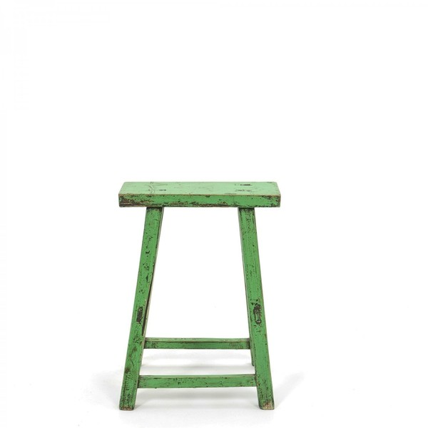 Stool C.1930 Green Lacquered Painted Wood