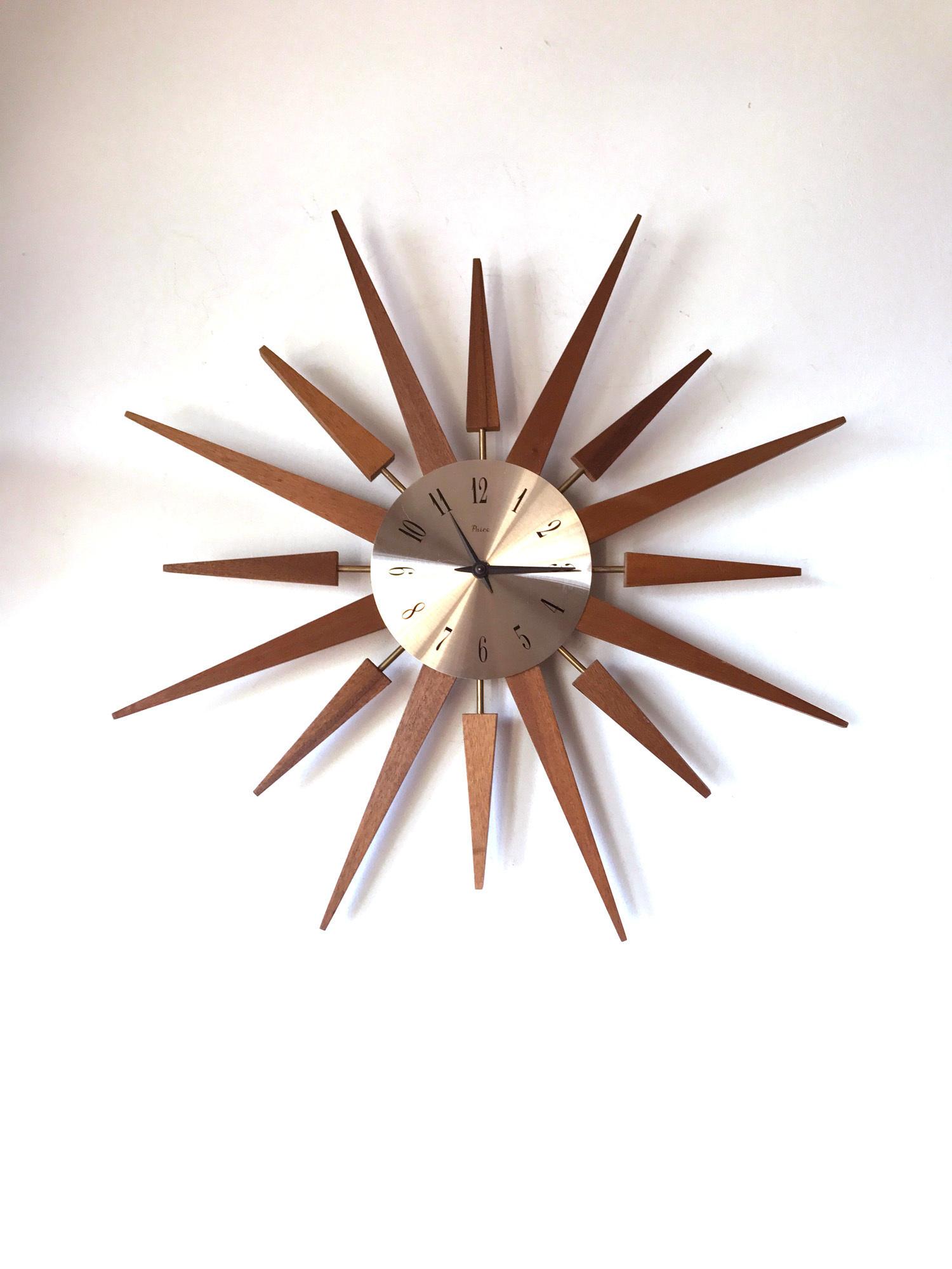 60s Stylish Vintage Retro Teak Paico Sunburst Starburst Wall Clock