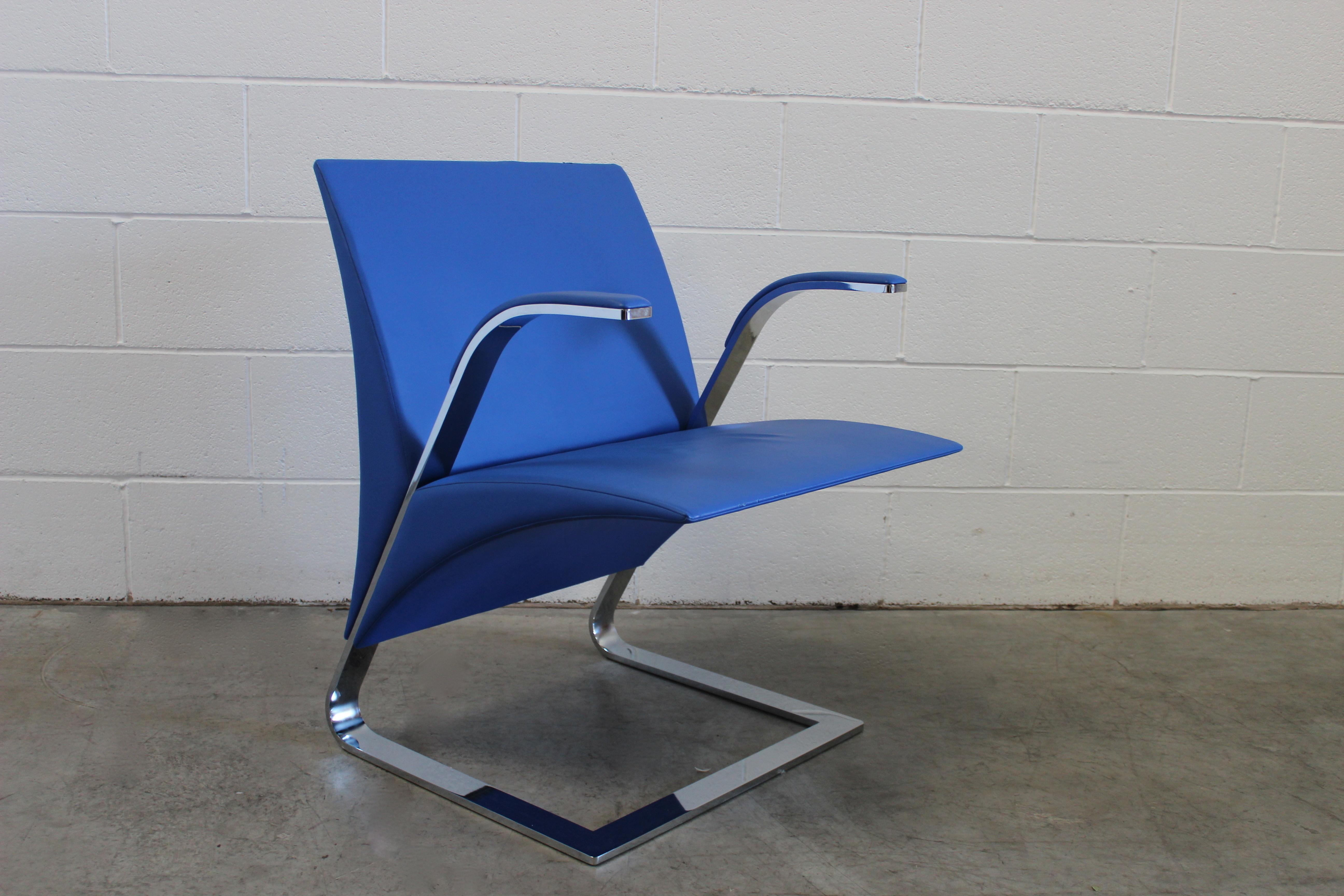 Poltrona Frau Ravello.Sublime Poltrona Frau Ravello Armchair In Pristine Pelle Frau Blue Leather