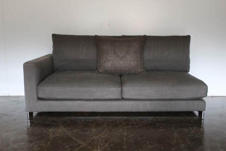 Rare Superb Molteni C Reversi 2 5 Seat Sofa Chaise In Dark Grey Woven Fabric