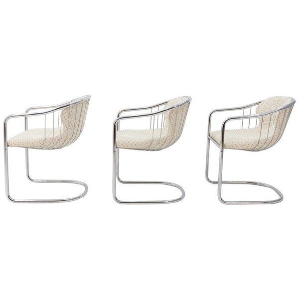 Gastone Rinaldi 1970s Chrome Chairs