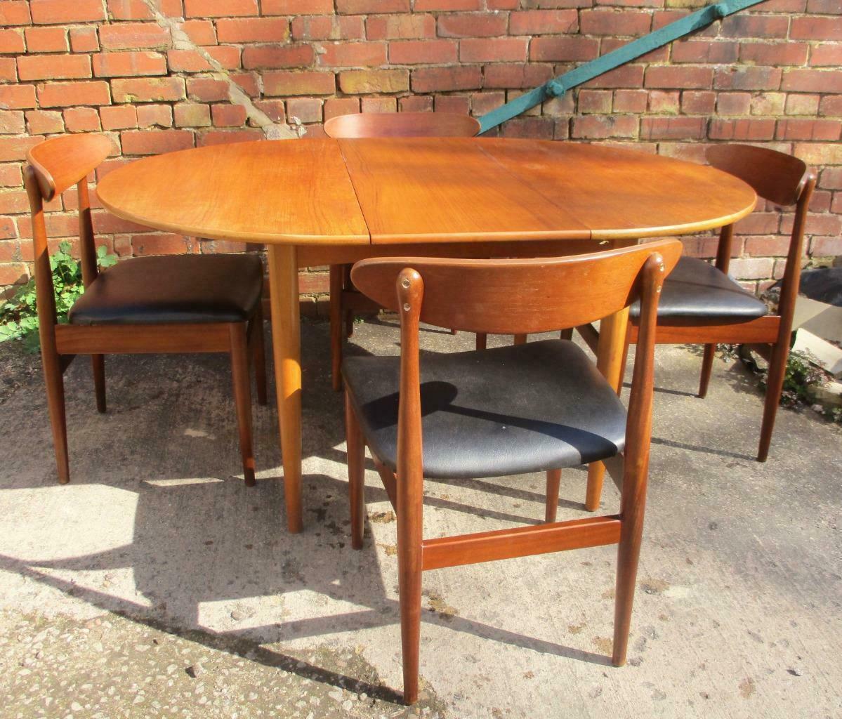 Vintage 1960 S Extending Teak Round Dining Table 4 Chairs Mid Century Retro G Plan Vinterior