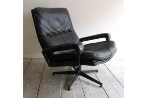 Thumb vintage 60s leather swivel king chair 0