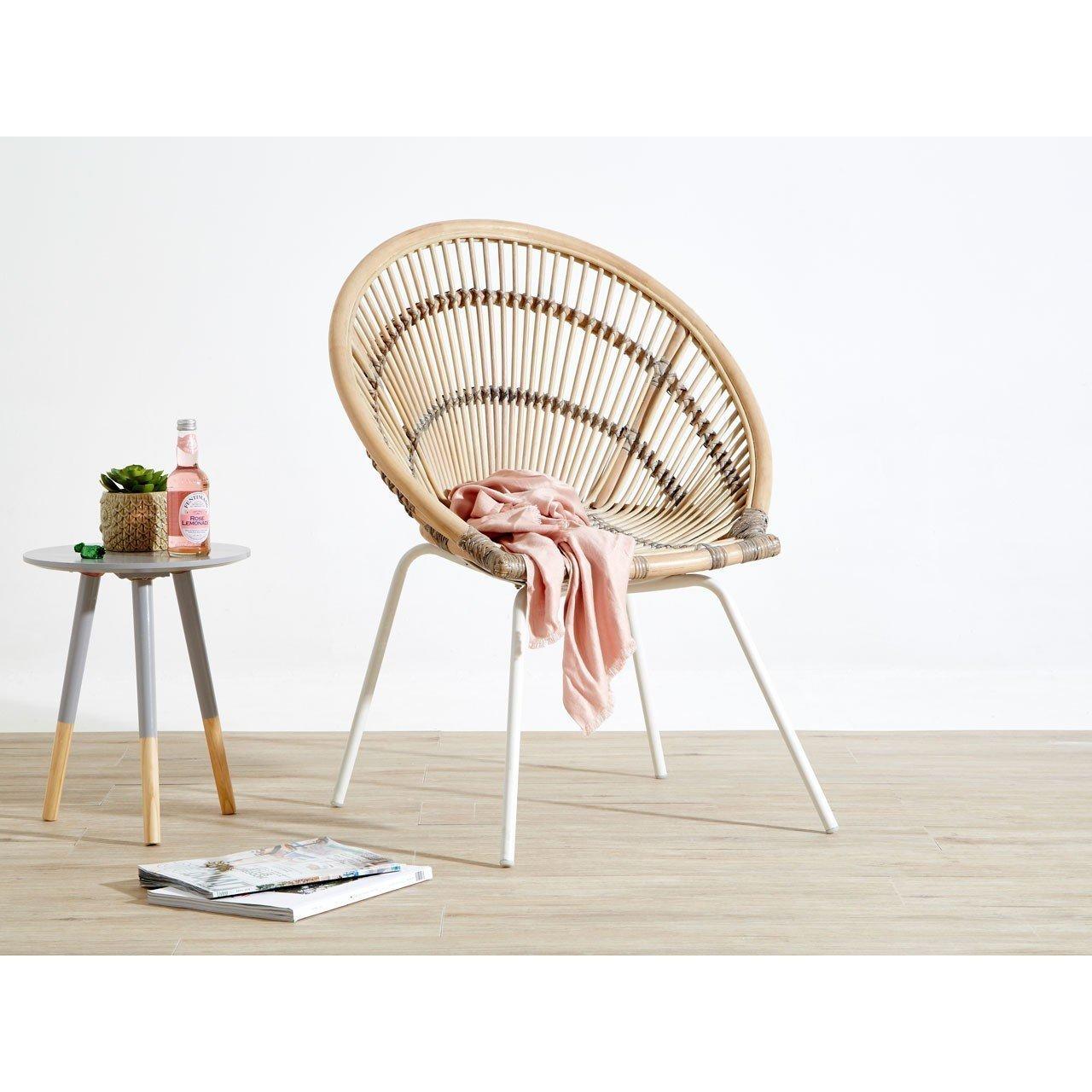 Mid Century Bohemian Wicker Cane Egg Chair 1950 S Mid Century Design White Metal Legs Vinterior