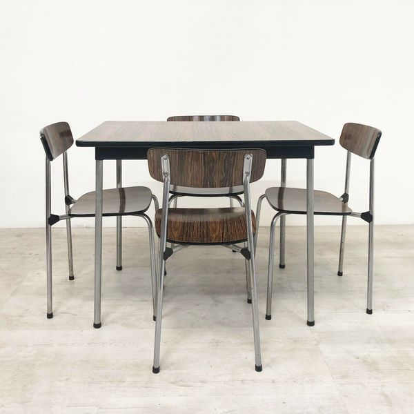 Vintage Tavo Of Belgium Mid Century 1950s Dining Table Chairs In Rosewood Form