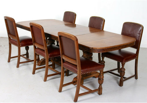 Antique Carved Oak Leather Dining Table And 6 Chairs