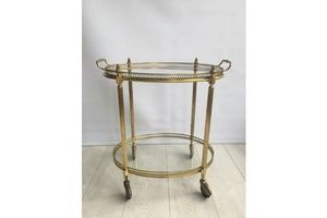 Thumb vintage french brass oval drinks trolley cart 1950 0