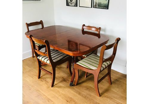 Abbeycraft Reproduction Antique Georgian Yew Dining Table With Chairs