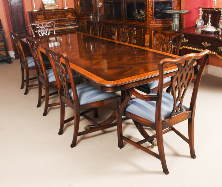Vintage 10ft Twin Pillar Dining Table 8 Chairs By Rackstraw 20th C