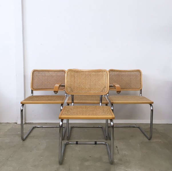 Peachy 4 Vintage Chrome Cantilever Rattan Cesca Dining Chairs Marcel Breuer Italian Pdpeps Interior Chair Design Pdpepsorg