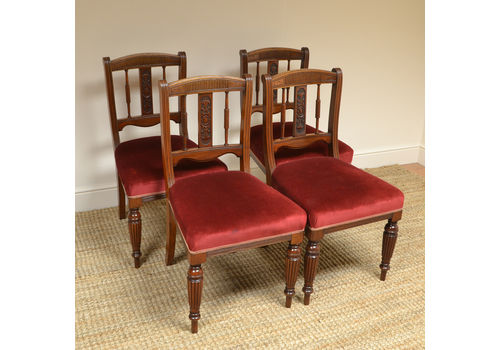 Set 6 Edwardian Antique Solid Carved Mahogany Upholstered Dining Kitchen Chairs Quality First Antique Furniture