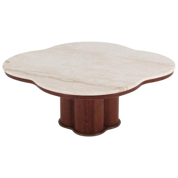 Jean Royère Style Travertine Coffee Table