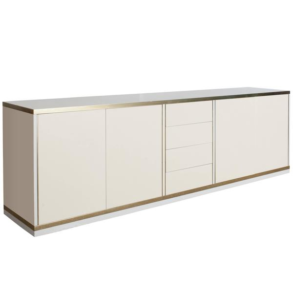 Hollywood Regency Lacquer And Brass Credenza By Mario Sabot