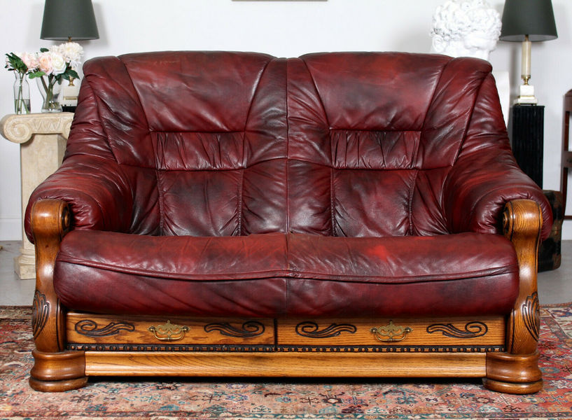 French Oak Burgundy Leather Sofa Carved Two Seater