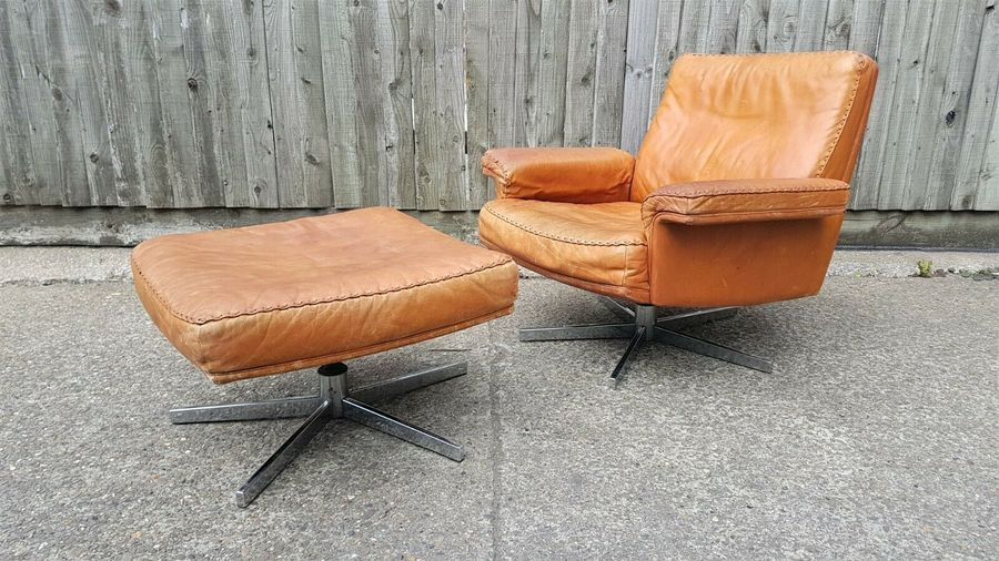 Brilliant De Sede Ds 53 Leather Lounge Chair And Footrest Vintage Mid Century 70S Danish Andrewgaddart Wooden Chair Designs For Living Room Andrewgaddartcom