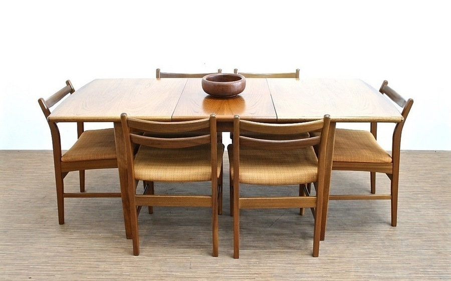 Vintage 1970s Teak Danish Influence Dining Table & 6 Chairs