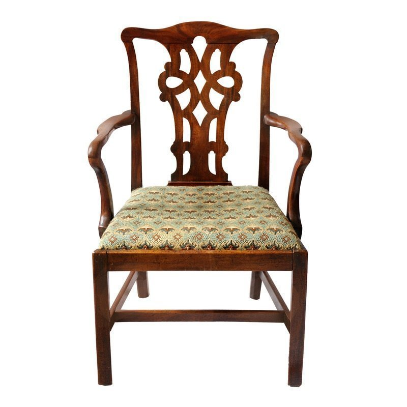 Remarkable Large English George Iii Chippendale Style Open Arm Desk Chair Circa 1760 Ncnpc Chair Design For Home Ncnpcorg