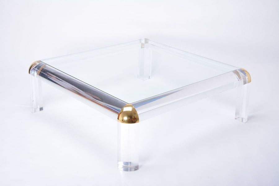 Large Vintage Lucite Brass Square Coffee Table 1970s Vinterior