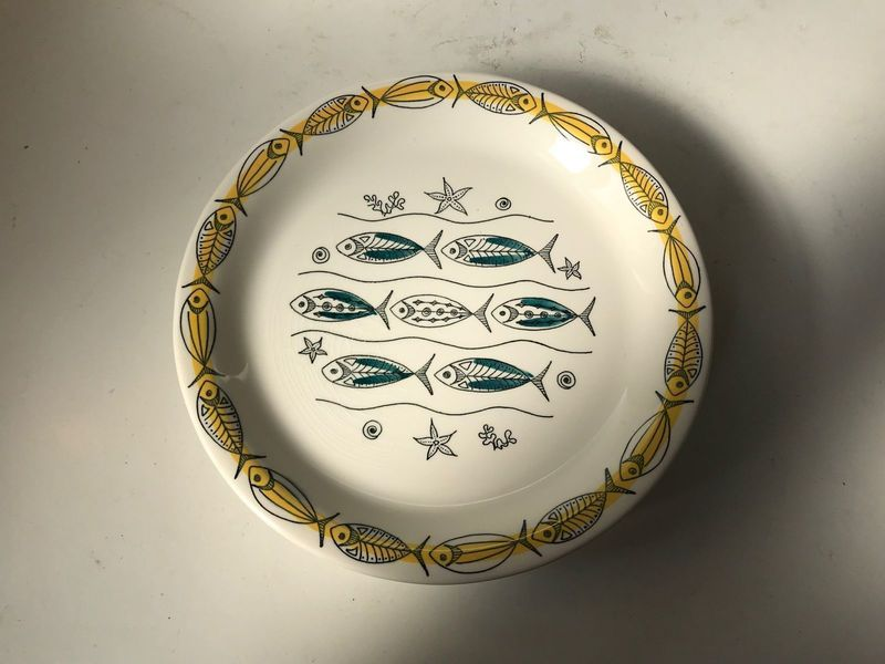 Mid Century Ceramic Fish Plates By Inger Waage For Stavangerflint, 1950s, Set Of 6