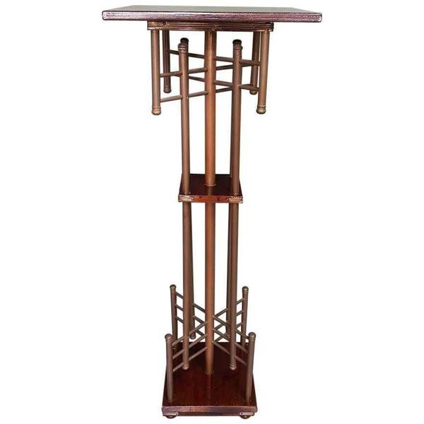 1930s Art Deco Brass And Wooden Plant Stand Of Piedestal