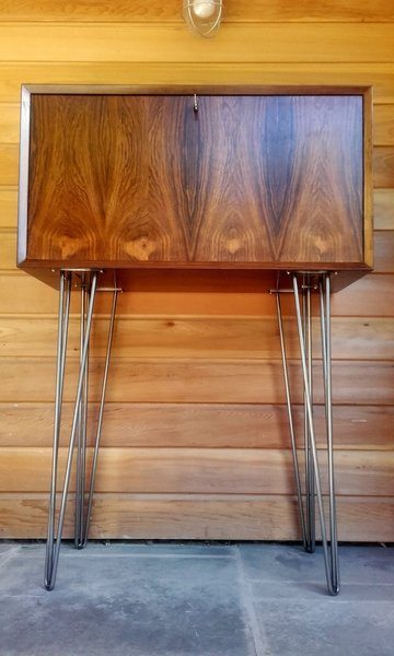 Rosewood Cocktail Cabinet On Tall Hairpin Legs