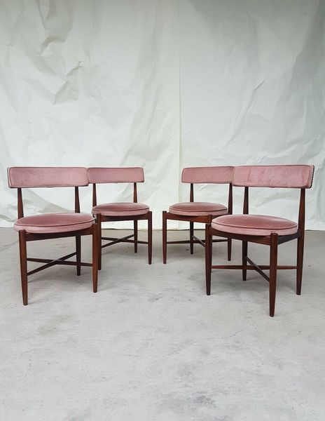 Vtg Mid Century G Plan Set 4 Teak Dining Chairs Danish Scandinavian