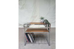 Thumb vtg mid century 70s chrome record player vinyl storage media table stand unit 0