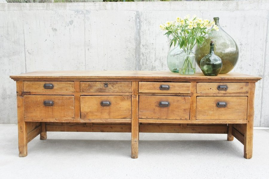 8 Drawer Solid Pine Paneled Back Shop Counter Sideboard Drawers