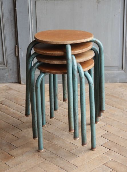 Brilliant Set Of Four Vintage French Industrial Metal Stacking Lab Stools Mid Century 2 Beatyapartments Chair Design Images Beatyapartmentscom