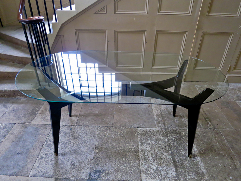 Italian Glass Top Dining Table With Brass Sabots