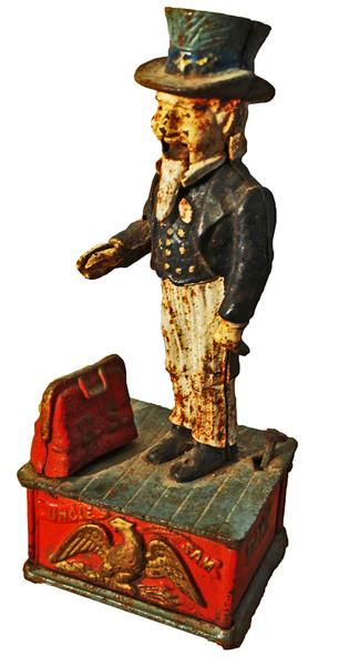 American 'Uncle Sam' Money Box. Cast Iron.