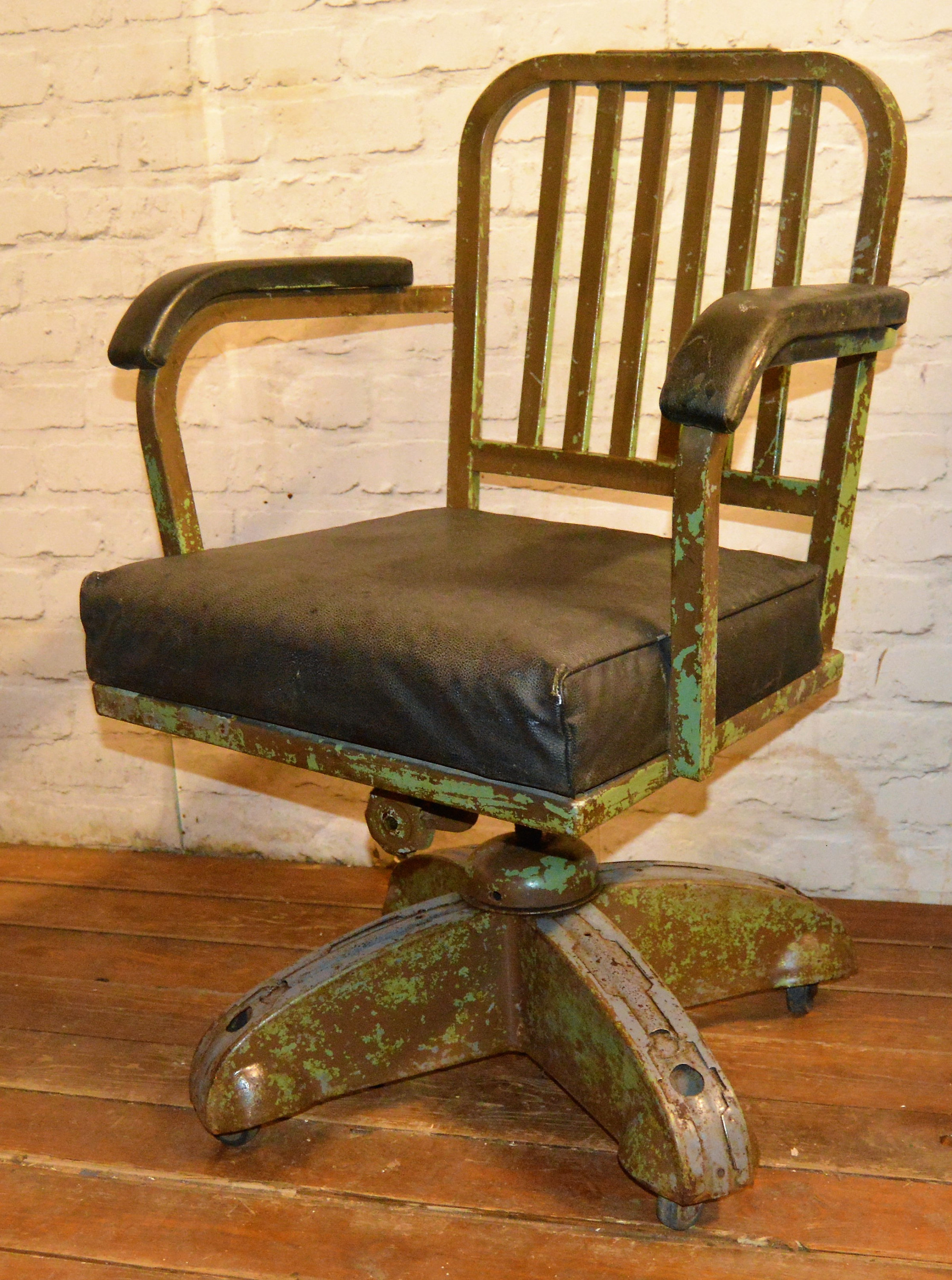 Industrial Swivel Office Chair Leather Metal Desk Vintage Retro Antique Machinist Factory Old Seating Vinterior