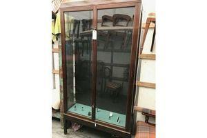Thumb vintage antique mahogany display cabinet 0