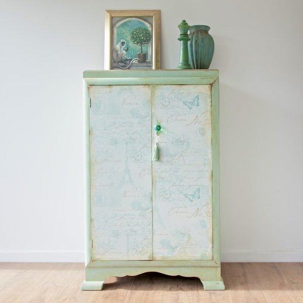 Aged Aqua Green Wardrobe With Paris Decoupaged Doors photo 1