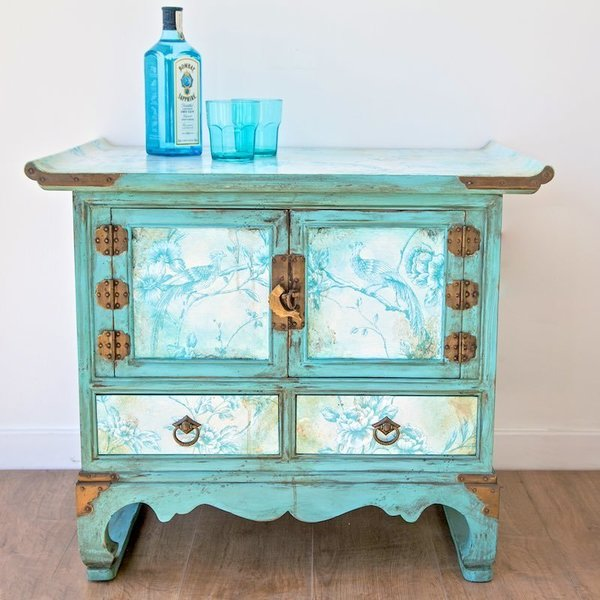 Chinese Style Cabinet Decoupaged And Aged