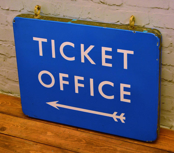 Scottish Double Sided Ticket Office British Railway Enamel Sign Rail  Antique Vintage Train Industrial Metal