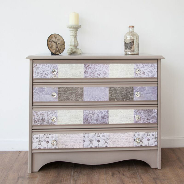 Patchwork Chest Of Drawers Decoupaged In Taupe And Cream With Clear Crystal Knobs