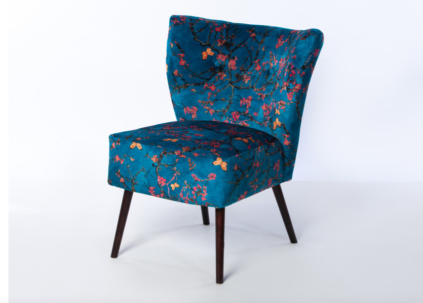 Amazing Blue Velvet Floral Cocktail Chair Accent Chair Free Delivery Gmtry Best Dining Table And Chair Ideas Images Gmtryco
