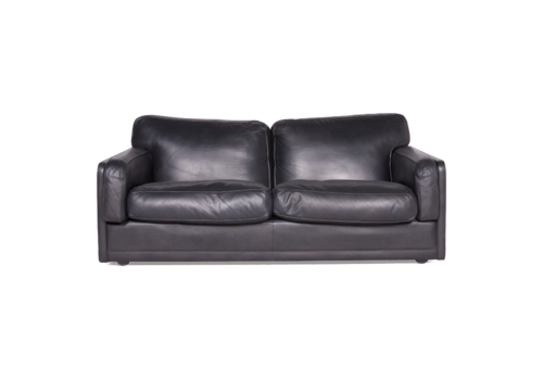 Poltrona Frau Socrate Designer Leather Sofa Black Genuine Two Seater Couch 8640