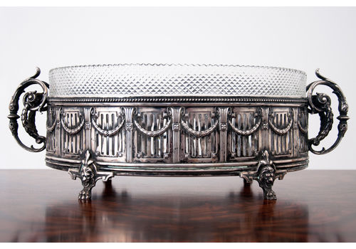 Antique German Oval Silver Coated & Glass Jardiniere